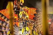 Imperatriz Leopolinense Samba School, Carnival, Rio de Janeiro, Brazil, 26th February 2017. Pajé Sapaím Kamayurá stads atop the Alto Xingu float.