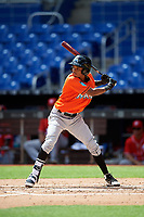 Miami Marlins Jose Devers (55) at bat during a Florida Instructional League game against the Washington Nationals on September 26, 2018 at the Marlins Park in Miami, Florida.  (Mike Janes/Four Seam Images)