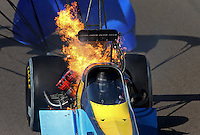 Feb. 23, 2013; Chandler, AZ, USA; NHRA top fuel dragster driver Sidnei Frigo blows an engine on fire during qualifying for the Arizona Nationals at Firebird International Raceway. Mandatory Credit: Mark J. Rebilas-