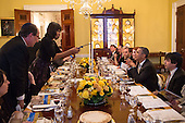 United States President Barack Obama and First Lady Michelle Obama host a Passover Seder Dinner for family, staff and friends, in the Old Family Dining Room of the White House, March 25, 2013..Mandatory Credit: Pete Souza - White House via CNP