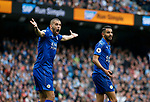 Islam Slimani of Leicester City complains after the penalty by Riyad Mahrez of Leicester City was disallowed during the English Premier League match at the Etihad Stadium, Manchester. Picture date: May 13th 2017. Pic credit should read: Simon Bellis/Sportimage