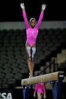 02/20/09 - Photo by John Cheng for USA Gymnastics.  US gymnast Hallie Mosett performs on balance beam in a meet against Japan before the Tyson American Cup at Sears Centre Arena in Chicago.