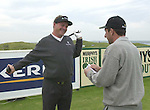 IRISH OPEN BALLYBUNION WEDNESDAY...Jose Maria Olazabal and Darren Clarke share a joke on the first tee  in the Murphys Irish Open Pro-Am at Ballybunion on Wednesday..Picture by Don MacMonagle