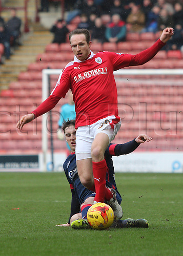 20.02.2016. Oakwell Stadium, Barnsley, England. Skybet League One. Barnsleys Aidan white is brought down by Doncasters Conor Grant