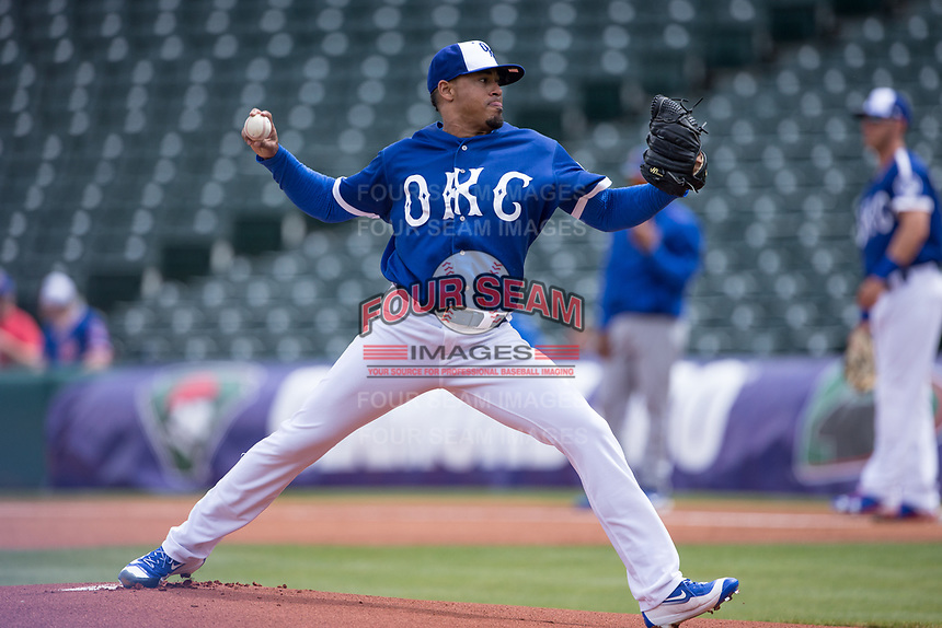 Jair Jurrjens (15) of the Oklahoma City Dodgers warms up on the mound during a game against the Iowa Cubs at Chickasaw Bricktown Ballpark on April 9, 2016 in Oklahoma City, Oklahoma.  Oklahoma City defeated Iowa 12-1 (William Purnell/Four Seam Images)