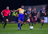 Lincoln City's Danny Rowe vies for possession with Mansfield Town's Jacob Mellis<br /> <br /> Photographer Andrew Vaughan/CameraSport<br /> <br /> The EFL Sky Bet League Two - Mansfield Town v Lincoln City - Monday 18th March 2019 - Field Mill - Mansfield<br /> <br /> World Copyright © 2019 CameraSport. All rights reserved. 43 Linden Ave. Countesthorpe. Leicester. England. LE8 5PG - Tel: +44 (0) 116 277 4147 - admin@camerasport.com - www.camerasport.com