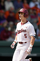 Center fielder TJ Hopkins (5) of the South Carolina Gamecocks scores a run against the Clemson Tigers on Saturday, March 2, 2019, at Fluor Field at the West End in Greenville, South Carolina. Clemson won, 11-5. (Tom Priddy/Four Seam Images)