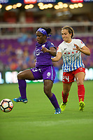 Orlando, FL - Saturday August 05, 2017: Jasmyne Spencer, Danielle Colaprico during a regular season National Women's Soccer League (NWSL) match between the Orlando Pride and the Chicago Red Stars at Orlando City Stadium.