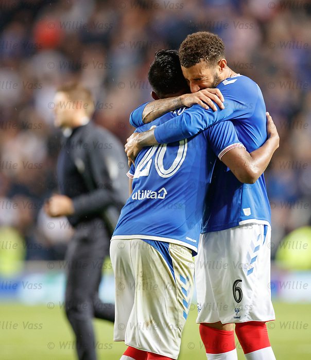 29.08.2019 Rangers v Legia Warsaw: Connor Goldson and Alfredo Morelos