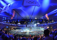August 12, 2012..View of the Olympic rings, cauldron, made from position D during closing ceremony at the Olympic Stadium on the last day of 2012 Olympic Games in London, United Kingdom.