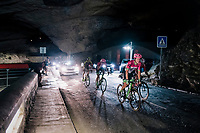 Lawson Craddock (USA/Education First-Drapac) rolling through a spectacular huge/dark cave: the 'Grotte du Mas-d'Azil'<br /> <br /> Stage 16: Carcassonne &gt; Bagn&egrave;res-de-Luchon (218km)<br /> <br /> 105th Tour de France 2018<br /> &copy;kramon