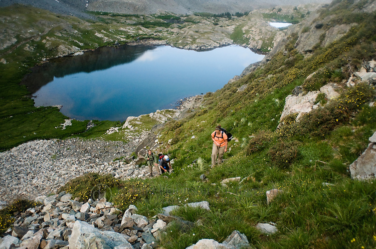 25 July 2008-- Colorado Trip Backpack Lake Como. Hiking above the Blue Lakes along the Lake Como trail to the Blanca Group of Colorado Fourteeners. PHOTO/Daniel Johnson (copyright Daniel Johnson)