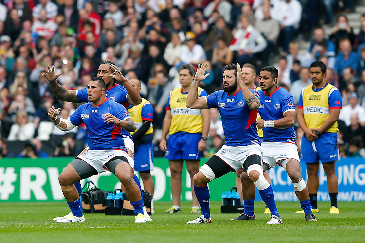 Samoa replacement Anthony Perenise and Lock Kane Thompson perform the Manu Siva Tau - Mandatory byline: Rogan Thomson - 03/10/2015 - RUGBY UNION - Stadium:mk - Milton Keynes, England - Samoa v Japan - Rugby World Cup 2015 Pool B.