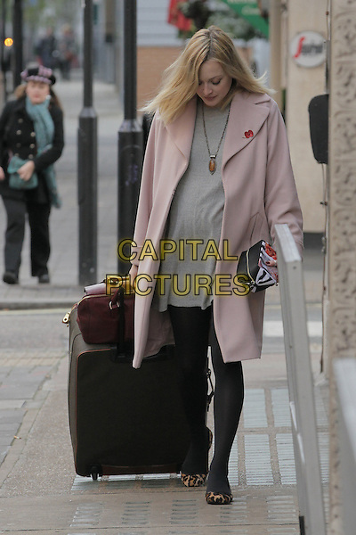 Fearne Cotton .arriving at the studios of BBC Radio 1.London, England, UK, .November 2nd, 2012..full length pregnant maternity  grey gray dress pink coat black tights suitcase on wheels red bag leopard print shoes flats necklace poppy .CAP/HIL.©John Hillcoat/Capital Pictures.