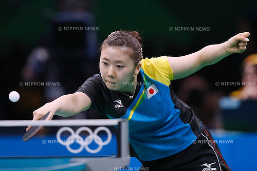 Ai Fukuhara (JPN), <br /> AUGUST 14, 2016 - Table Tennis : <br /> Women's Team Semi-final <br /> at Riocentro - Pavilion 3 <br /> during the Rio 2016 Olympic Games in Rio de Janeiro, Brazil. <br /> (Photo by Sho Tamura/AFLO SPORT)