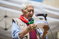 """Arnaldo """"Nando"""" Cavaterra (Antifascist Partizan. Member of the Partigiani: the Italian Resistance during WWII).<br /> <br /> Rome, 25/04/2018. Today, to mark the 73rd Anniversary of the Italian Liberation from nazi-fascism ('Liberazione'), ANED Roma & ANPI Roma (National Association of Italian Partizans) held a march ('Corteo') from Garbatella to Piazzale Ostiense where a rally took place attended by Partizans, Veterans and politicians – including the Mayor of Rome and the President of Lazio's Region. FOR THE FULL CAPTIONS PLEASE CHECK """"Photo Stories - 2010 to Today"""" 25.04.2018."""