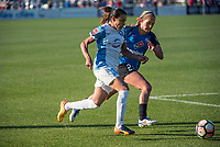Kansas City, MO - Sunday May 07, 2017: Brittany Ratcliffe, Marta Vieira Da Silva during a regular season National Women's Soccer League (NWSL) match between FC Kansas City and the Orlando Pride at Children's Mercy Victory Field.