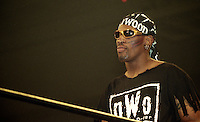 "NBA star Dennis Rodmon participates in a NWO ""Bash at the Beach"" pro wrestling event in Daytona Beach, FL, July 1997.  (Photo by Brian Cleary/www.bcpix.com)"