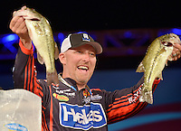 NWA Democrat-Gazette/BEN GOFF -- 04/25/15 Wesley Strader, FLW pro from Spring City, Tenn., weighs-in on day three of the Walmart FLW Tour at Beaver Lake on Saturday Apr. 25, 2015 at the John Q. Hammons Center in Rogers. Strader did not make the top ten to advance to day four.