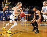 BROOKINGS, SD - FEBRUARY 8: Tylee Irwin #21 of the South Dakota State Jackrabbits drives to the basket against Rayanna Carter #2 of the Omaha Mavericks at Frost Arena February 8, 2020 in Brookings, South Dakota. (Photo by Dave Eggen/Inertia)