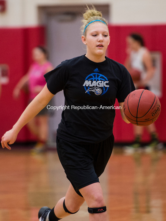 THOMASTON, CT- 30 November 2015-113015EC27-   Pomperaug's Karli Opalka. Monday was the first day of practice for the Panthers. Erin Covey Republican-American