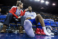 16.01.2013 London, England. Detroit Pistons centre Andre Drummond (1) talks to the media during team practice ahead of the NBA London Live 2013 game between the Detroit Pistons and the New York Knicks from The O2 Arena