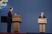 Democratic presidential candidate Vice President Al Gore, left, makes a point to Republican candidate Texas Governor George W. Bush during their first presidential debate October 3, 2000 in Boston, Massachusetts. Gore and Bush will meet twice more before the November election.<br /> Credit: Darren McCollester / Pool via CNP