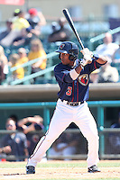 Tony Kemp #3 of the Lancaster JetHawks bats against the Lake Elsinore Storm at The Hanger on April 6, 2014 in Lancaster, California. Lancaster defeated Lake Elsinore, 7-4. (Larry Goren/Four Seam Images)