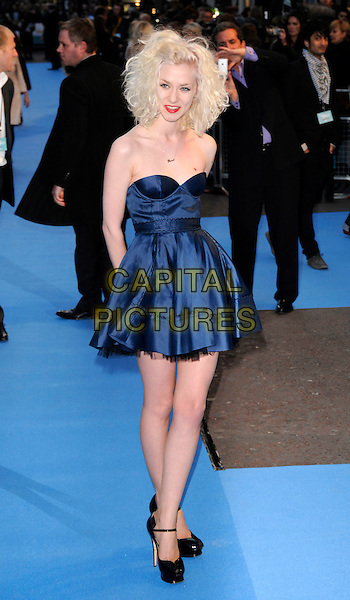"PORTIA FREEMAN.""Fool's Gold"" UK film premiere, Vue Leicester Square, London, England..April 10th, 2008.full length blue strapless dress black peep-toe platform shoes red lipstick heart tattoo .CAP/CAN.©Can Nguyen/Capital Pictures."