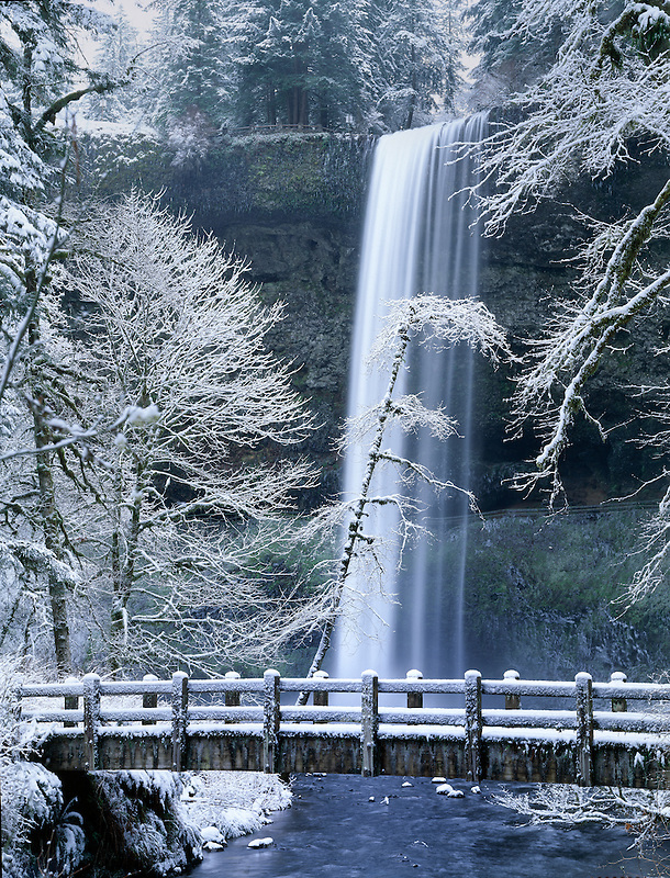 South Falls with snow. Silver Falls State Park. Oregon.