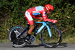Race leader Red Jersey Nairo Quintana (COL) Movistar Team in action during Stage 10 of La Vuelta 2019 an individual time trial running 36.2km from Jurancon to Pau, France. 3rd September 2019.<br /> Picture: Luis Angel Gomez/Photogomezsport | Cyclefile<br /> <br /> All photos usage must carry mandatory copyright credit (© Cyclefile | Luis Angel Gomez/Photogomezsport)