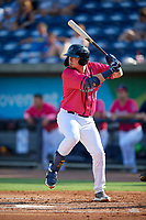 Pensacola Blue Wahoos Ryan Costello (18) at bat during a Southern League game against the Mobile BayBears on July 25, 2019 at Hank Aaron Stadium in Pensacola, Florida.  Pensacola defeated Mobile 2-1 in the first game of a doubleheader.  (Mike Janes/Four Seam Images)