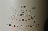 Comte de Bosredon Cuvee Alliance, the wine that is aged both in French and American oak at Chateau Belingard. Detail of label. Chateau Belingard Bergerac Dordogne France