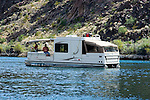 Houseboat, fishing, no model release, vacation, relaxation, Colorado River below Hoover Dam on border of Arizona, AZ, Nevada, NV, image nv430-18698.Photo copyright: Lee Foster, www.fostertravel.com, lee@fostertravel.com, 510-549-2202