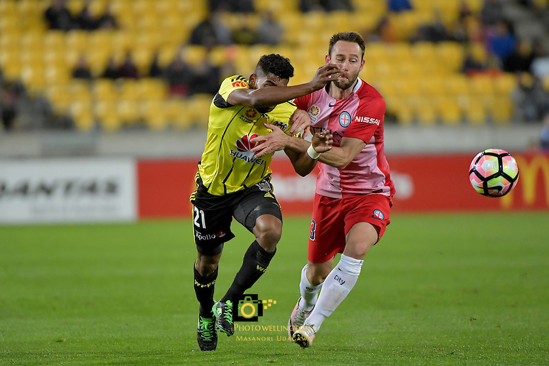 Wellington Phoenix&rsquo;  Roy Krishna and Melbourne City FC's Joshua Rose in action during the A League - Wellington Phoenix v Melbourne City FC at Westpac Stadium, Wellington, New Zealand on Saturday 8 October 2016.<br /> Photo by Masanori Udagawa. <br /> www.photowellington.photoshelter.com.
