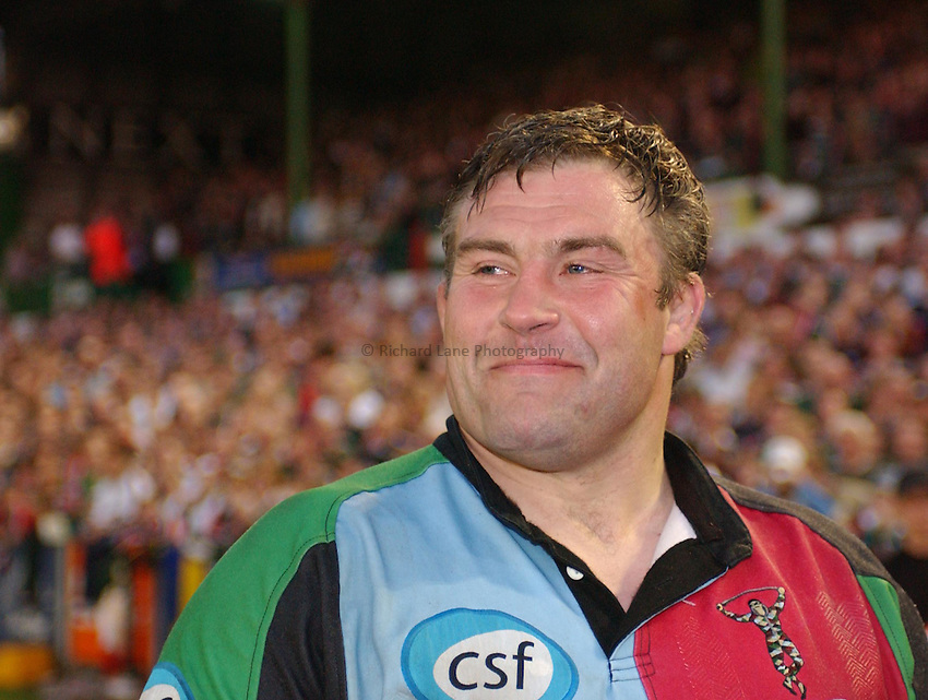Photo. Dan Hanbury..Leicester Tigers v NEC Harlequins. Zurich Premiership. 15/05/2004..Jason Leonard smiling.