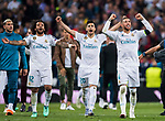 Sergio Ramos (R), Marco Asensio Willemsen (C) and Marcelo Vieira Da Silva of Real Madrid of Real Madrid celebrate after the UEFA Champions League Semi-final 2nd leg match between Real Madrid and Bayern Munich at the Estadio Santiago Bernabeu on May 01 2018 in Madrid, Spain. Photo by Diego Souto / Power Sport Images
