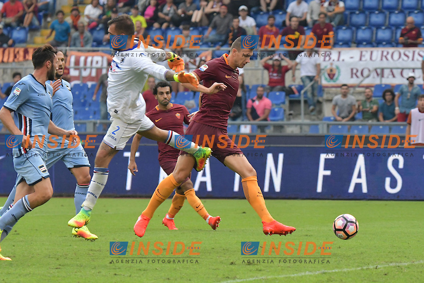 Gol Edin Dzeko Roma Goal celebration 2-2<br /> Roma 11-09-2016 Stadio Olimpico  <br /> Football Calcio Serie A AS Roma - Sampdoria <br /> Foto Andrea Staccioli / Insidefoto