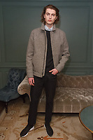 Model poses in an outfit from the Exley NB Fall Winter 2017 collection by Annie Campbell, at The Soho House in New York City on March 7, 2017.