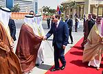 Egyptian President Abdel Fattah Sisi bids farewell to King of Bahrain Hamad bin Issa al-Khalifa at Cairo International Airport in Cairo on June 9, 2017. Photo by Egyptian President Office