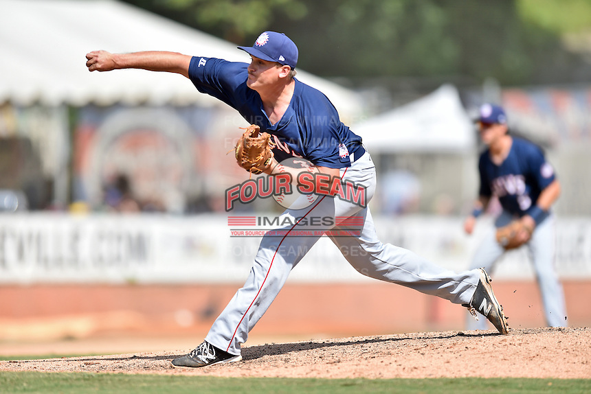 Hagerstown Suns pitcher Mick VanVossen (36) delivers a pitch during a game against the Asheville Tourists at McCormick Field on September 5, 2016 in Asheville, North Carolina. The Suns defeated the Tourists 9-5. (Tony Farlow/Four Seam Images)