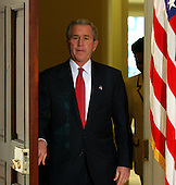 United States President George W. Bush arrives to name Dr. Condoleezza Rice to be United States Secretary of State succeeding Colin Powell in the Roosevelt Room at the White House in Washington, D.C. on November 16, 2004.<br /> Credit: Ron Sachs / Pool via CNP
