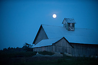 Moonrise over the Collins Farm in Newport, Vermont.