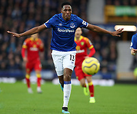 23rd  November 2019; Goodison Park , Liverpool, Merseyside, England; English Premier League Football, Everton versus Norwich City; Yerry Mina of Everton watches the ball after it is played to Everton goalkeeper Jordan Pickford  Strictly Editorial Use Only. No use with unauthorized audio, video, data, fixture lists, club/league logos or 'live' services. Online in-match use limited to 120 images, no video emulation. No use in betting, games or single club/league/player publications