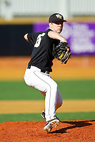 Starting pitcher Tim Cooney #35 of the Wake Forest Demon Deacons in action against the Miami Hurricanes at Gene Hooks Field on March 19, 2011 in Winston-Salem, North Carolina.  Photo by Brian Westerholt / Four Seam Images