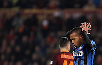 Calcio, Serie A: Roma vs Inter. Roma, stadio Olimpico, 19 marzo 2016.<br /> FC Inter's Jonathan Biabiany reacts during the Italian Serie A football match between Roma and FC Inter at Rome's Olympic stadium, 19 March 2016. The game ended 1-1.<br /> UPDATE IMAGES PRESS/Isabella Bonotto