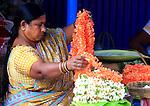 Flowers saleswoman  at  Devaraja Market in Mysore