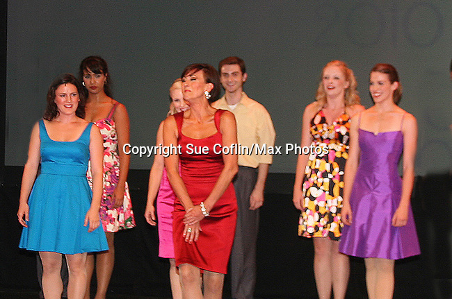 Curtain Call - As The World Turns' Colleen Zenk Pinter (red) along with her daughter Kelsey Crouch Pinter (purple) and 4 more -  Karen Mason (green), Carrie Manolakos (blue), Pearl Sun (turquoise), Kelly Felthous (red) and Dana Steingold (gold) star as CAP 21 presents SUMMER STOCK NYC, a celebration of the Broadway Musical on July 17, 2010 at the Michael Schimmel Center for the Arts, Pace University, NYC. (Photo by Sue Coflin/Max Photos)