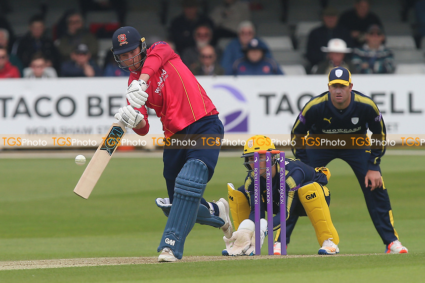 Tom Westley in batting action for Essex as Lewis McManus looks on from behind the stumps during Essex Eagles vs Hampshire, Royal London One-Day Cup Cricket at The Cloudfm County Ground on 30th April 2017