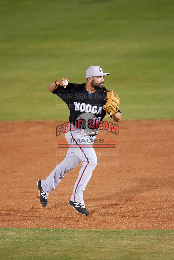 Chattanooga Lookouts second baseman Alex Robles (18) throws to first base during a game against the Mobile BayBears on May 5, 2018 at Hank Aaron Stadium in Mobile, Alabama.  Chattanooga defeated Mobile 11-5.  (Mike Janes/Four Seam Images)